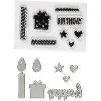 Stempler og skjæresjablonger, fødselsdag, str. 10-70 mm, 1 pk.