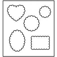 Skjæresjablong, former med bølget kant, str. 14x15,25 cm, tykkelse 15 mm, 1 stk.