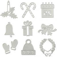 Skjære- og pregesjablong, julemotiver, dia. 2-6,5 cm, 1 stk.
