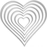 Skjære- og pregesjablong, hjerter, str. 2,5x3-10x11 cm, 1 stk.