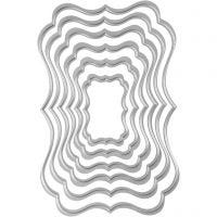 Skjære- og pregesjablong, tags, str. 2,5x4-8x12 cm, 1 stk.