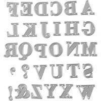 Skjæresjablong, alfabet, str. 2x1,5-2,5 cm, 1 stk.
