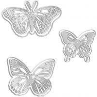 Skjære- og pregesjablong, sommerfugl, str. 5x4,5+6,5x5+8x4,5 cm, 1 stk.