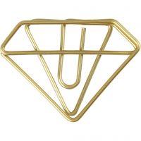 Klips, diamant, H: 25 mm, B: 35 mm, gull, 6 stk./ 1 pk.