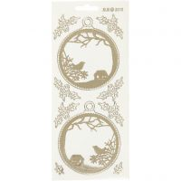 Stickers, julekuler, 10x23 cm, gull, transparent, 1 ark