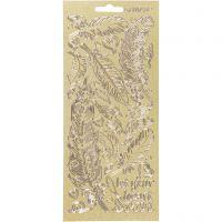 Stickers, fjær, 10x23 cm, gull, 1 ark