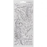 Stickers, fjær, 10x23 cm, sølv, 1 ark