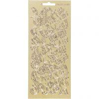 Stickers, sommerfugl, 10x23 cm, gull, 1 ark