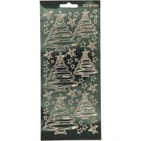 Stickers, juletrær, 10x23 cm, gull, 1 ark