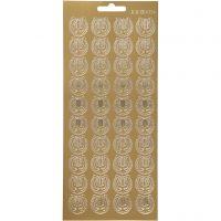 Stickers, lyre, 10x23 cm, gull, 1 ark