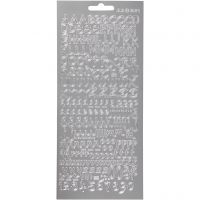 Stickers, bokstaver, 10x23 cm, sølv, 1 ark