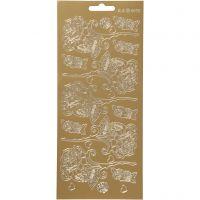Stickers, roser, 10x23 cm, gull, 1 ark