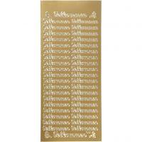Stickers, velkommen, 10x23 cm, gull, 1 ark