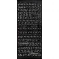 Stickers, små-bokstaver, 10x23 cm, svart, 1 ark