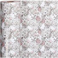Gavepapir, blomster, B: 57 cm, 80 g, beige, brun, rosa, hvit, 150 m/ 1 rl.