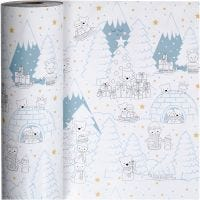 Gavepapir, polar jul, B: 57 cm, 80 g, 150 m/ 1 rl.