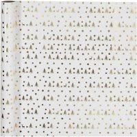 Gavepapir, juletre , B: 70 cm, 80 g, gull, hvit, 2 m/ 1 rl.