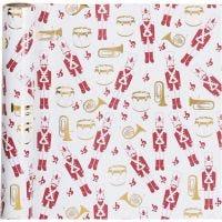 Gavepapir, nøtteknekker, B: 70 cm, 80 g, gull, rød, hvit, 2 m/ 1 rl.
