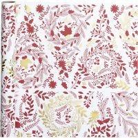 Gavepapir, Juletrær, B: 50 cm, 80 g, gull, rød, hvit, 3 m/ 1 rl.