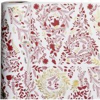 Gavepapir, Juletrær, B: 50 cm, 80 g, gull, rød, hvit, 100 m/ 1 rl.