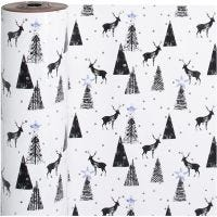 Gavepapir, hjort, B: 50 cm, 80 g, svart, sølv, hvit, 100 m/ 1 rl.