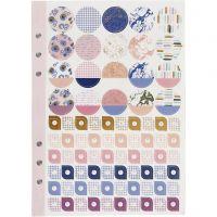 Stickersbok, blomster, A5, gull, lilla, rosa, 1 stk./ 1 pk.