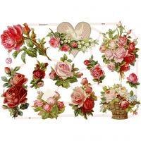 Glansbilder, roser, 16,5x23,5 cm, 3 ark/ 1 pk.