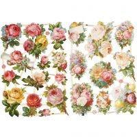 Glansbilder, roser, 16,5x23,5 cm, 2 ark/ 1 pk.