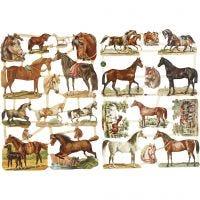 Glansbilder, hester, 16,5x23,5 cm, 2 ark/ 1 pk.