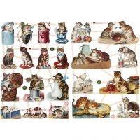 Glansbilder, katter, 16,5x23,5 cm, 2 ark/ 1 pk.