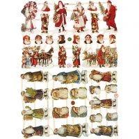 Glansbilder, julenisser, 16,5x23,5 cm, 2 ark/ 1 pk.