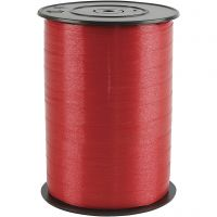 Gavebånd, B: 10 mm, blank, rød, 250 m/ 1 rl.