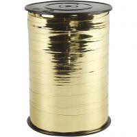 Gavebånd, B: 10 mm, blank, metallgull, 250 m/ 1 rl.