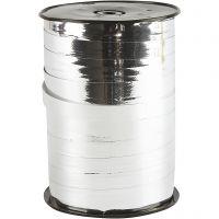 Gavebånd, B: 10 mm, blank, metallsølv, 250 m/ 1 rl.