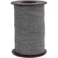Gavebånd, B: 10 mm, glitter, svart, 100 m/ 1 rl.