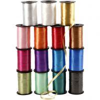 Gavebånd , B: 10 mm, blank, ass. farger, 15x250 m/ 1 pk.