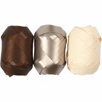 Gavebånd, B: 10 mm, brun, metallgull, lys natur, 3x10 m/ 1 pk.