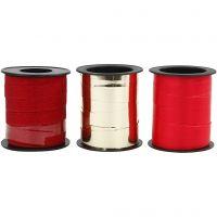 Gavebånd, B: 10 mm, gull, rød, rød glitter, 3x15 m/ 1 pk.