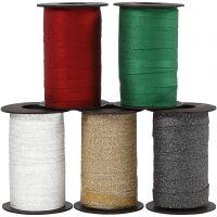 Gavebånd, B: 10 mm, glitter, ass. farger, 5x100 m/ 1 pk.