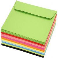Fargede konvolutter, konvolutt str. 16x16 cm, 80 g, ass. farger, 10x10 stk./ 1 pk.