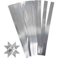 Stjernestrimler, L: 45 cm, dia. 4,5 cm, B: 10 mm, sølv, 100 strimler/ 1 pk.