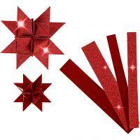 Stjernestrimler, L: 44+78 cm, dia. 6,5+11,5 cm, B: 15+25 mm, glitter,lakk, rød, 40 strimler/ 1 pk.