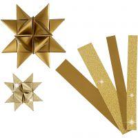 Stjernestrimler, L: 44+78 cm, dia. 6,5+11,5 cm, B: 15+25 mm, glitter,lakk, gull, 40 strimler/ 1 pk.