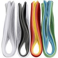 Quillingstrimler, L: 78 cm, B: 5 mm, 120 g, ass. farger, 12x100 stk./ 1 pk.