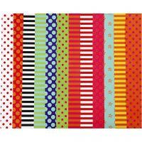 Glanspapir, mønstrete, 32x48 cm, 80 g, ass. farger, 100 ass. ark/ 1 pk.