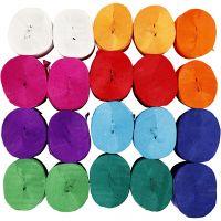 Kreppapir ruller, L: 20 m, B: 5 cm, 22 g, ass. farger, 20 rl./ 1 pk.