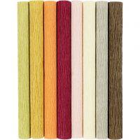 Kreppapir, 25x60 cm, Strekk-/krep: 180%, 105 g, douche farger, 8 ark/ 1 pk.