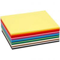 Creativ kartong, A6, 105x148 mm, 180 g, ass. farger, 120 ass. ark/ 1 pk.