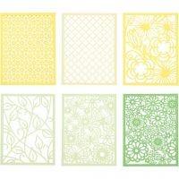 Blondekartong i blokk, A6, 104x146 mm, 200 g, grønn, lys grønn, gul, lys gul, 24 stk./ 1 pk.