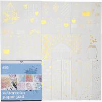 Malebok til akvarell, str. 30,5x30,5 cm, hvit, 12 ark/ 1 stk.